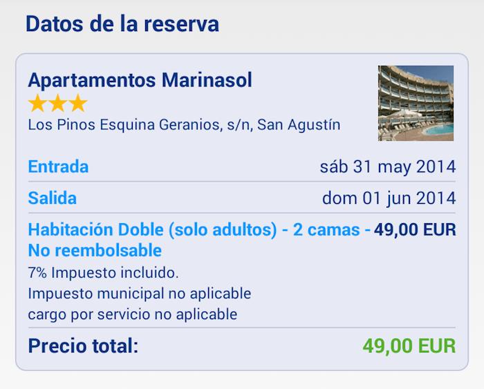 Reserva Booking en Apartamentos Marinasol