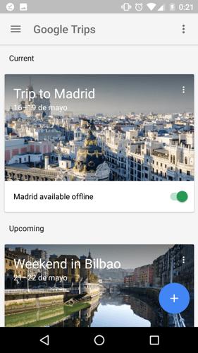 Modo offline Google Trips
