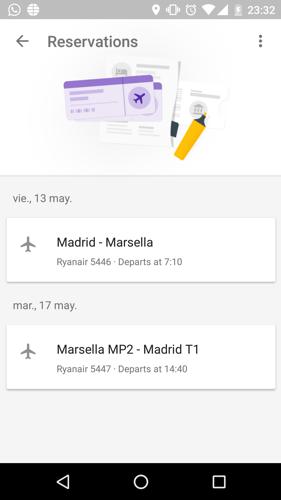 Reservas vuelos en Google Trips