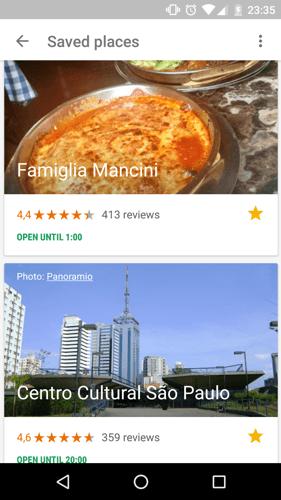 Sitios guardados en Google Trips