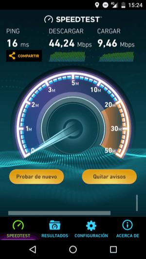 Test de velocidad con SIM 4G con MEO en Portugal (Setúbal)