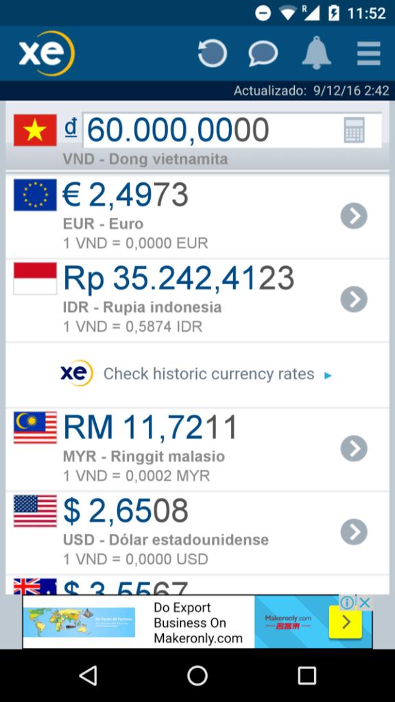 XE app para cambio de moneda