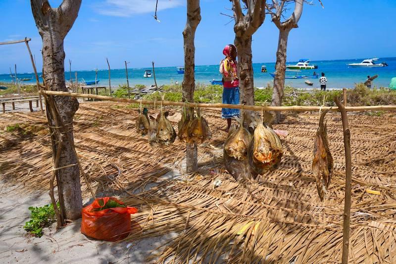 Pescado secando al sol en Atauro