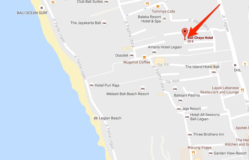 Ubicación del hotel Bali Chaya (Mapa)