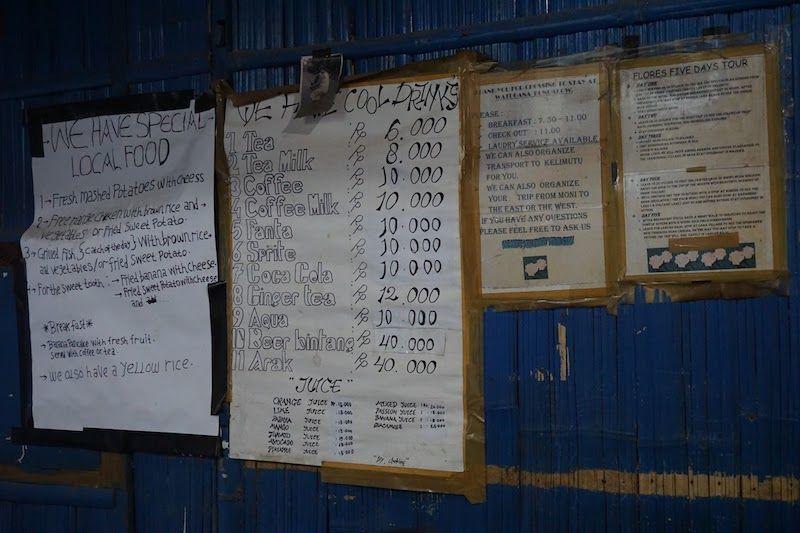 precios comida y bebida en watugana bungalow en moni