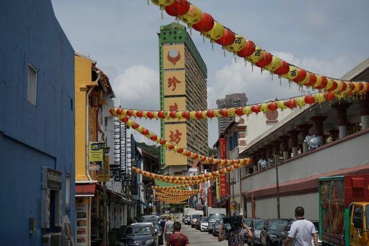ChinaTown todavía vestida con las celebraciones del reciente Tet (año nuevo chino)