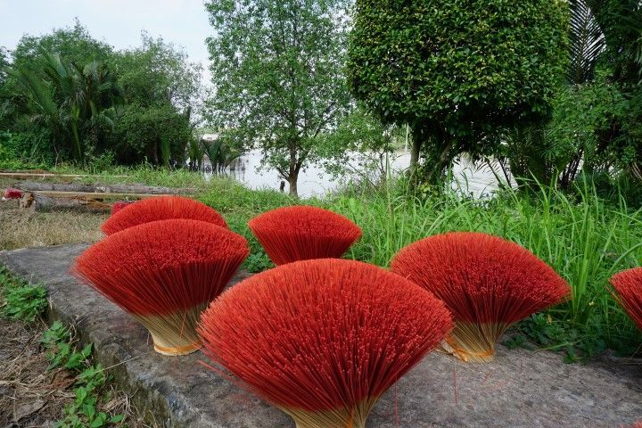 Flores de incienso a orillas del Mekong, en Ben Tre