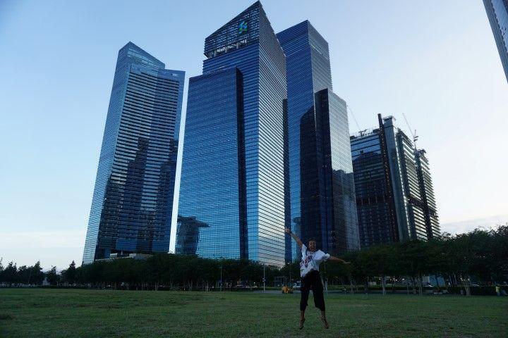 Marina Bay, de espaldas para el río Singapur