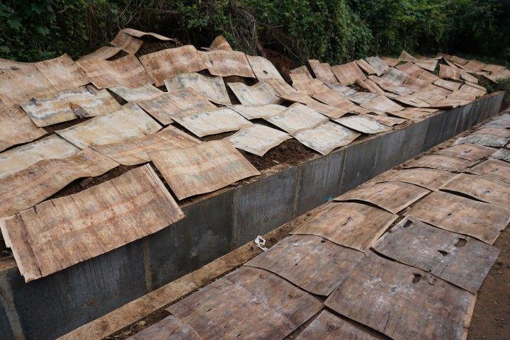 Conglomerados de madera secando en la carretera en frente a la fábrica