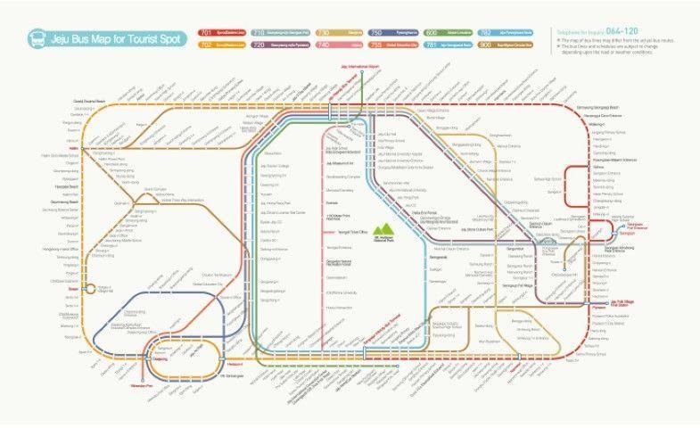 Mapa con las rutas de buses en la isla de Jeju. Fuente: Jeju Tourism