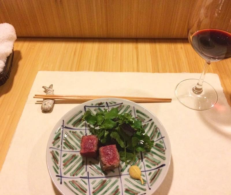 3 platos de la cena en el restaurante Kanda