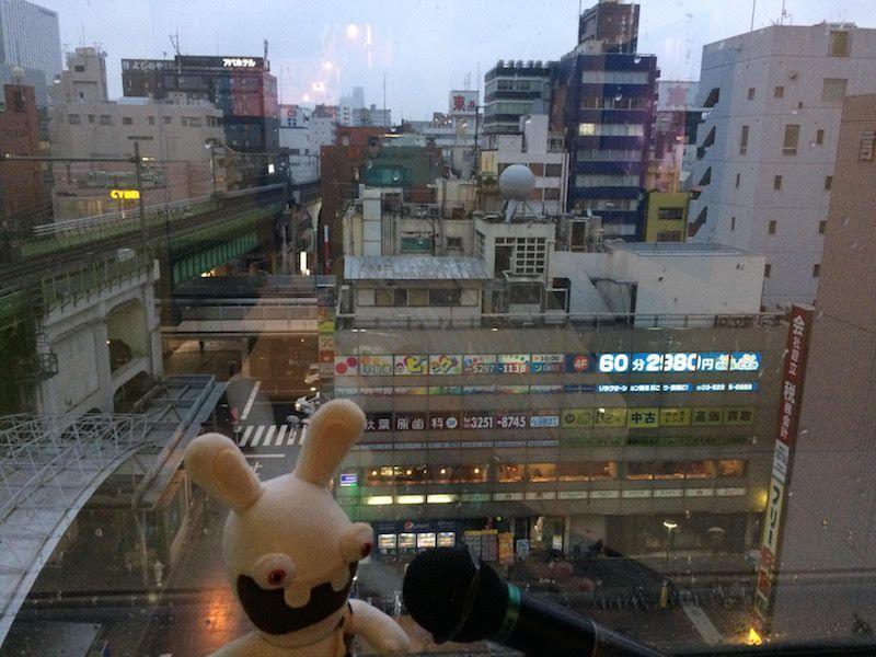 Yoko cantando con vistas en el karaoke de Akihabara