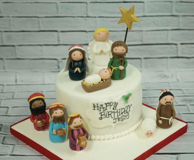 Un pastel con un belén.