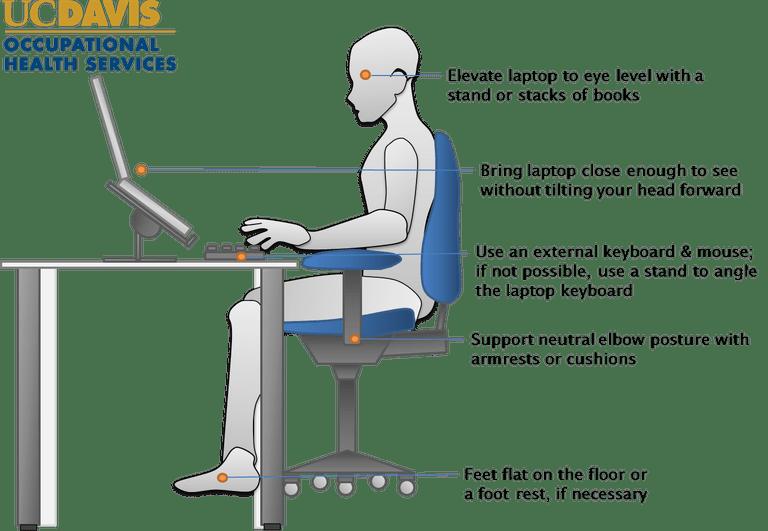 La ergonomía perfecta trabajando con un ordenador portátil.