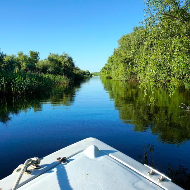 Rompiendo el manto de agua por los canales del delta del Danubio