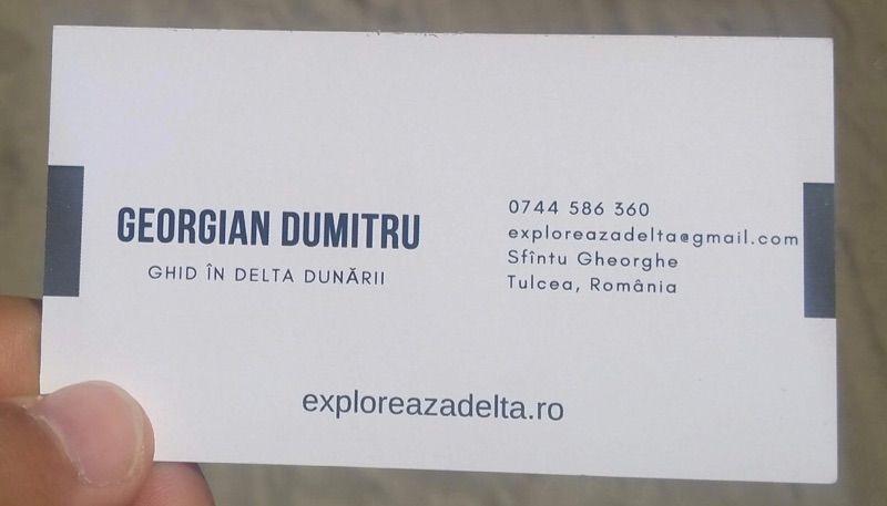 La tarjeta de visita de nuestro fantástico guía en el Delta del Danubio: Georgian Dumitru