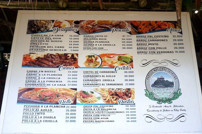 El menú con los precios del restaurante que hay en Cabo San Juan