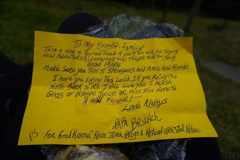 El mensaje que venía dentro del bocadillo de nuestro pack lunch... ¡Así da gusto!
