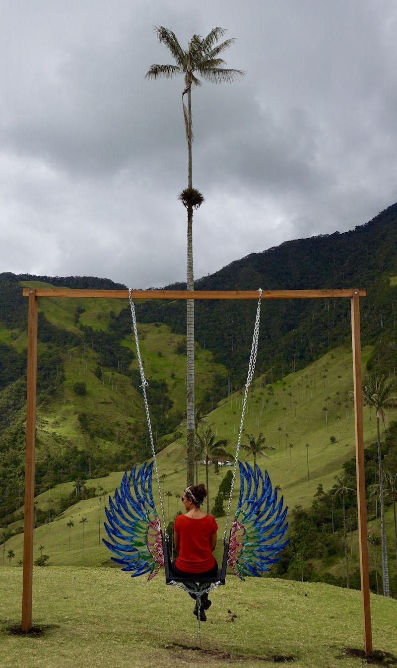 El columpio instagrameable, otra recompensa en el Valee del Cocora. al final del trekking