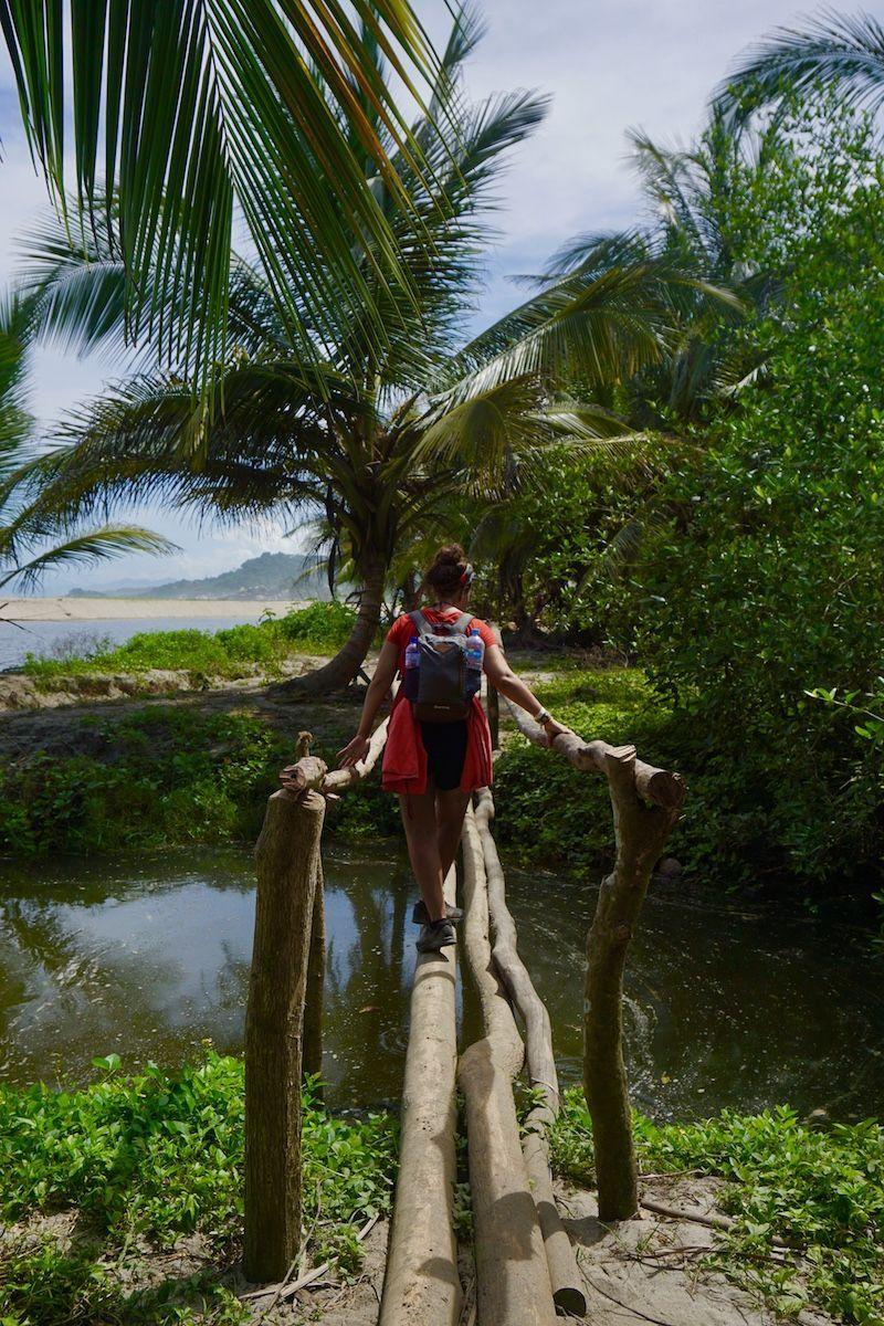 Cruzando un puente en el Tayrona ¿Veremos a algún caimán)