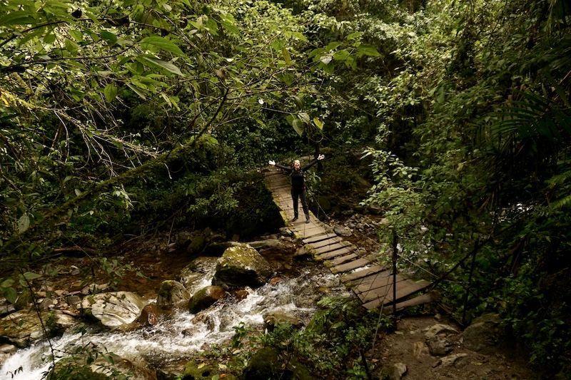 El puente de madera que anuncia que estás a punto de entrar en el bosque nublado