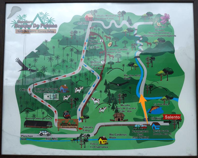 Mapa con la ruta de trekking circular del Tayrona.