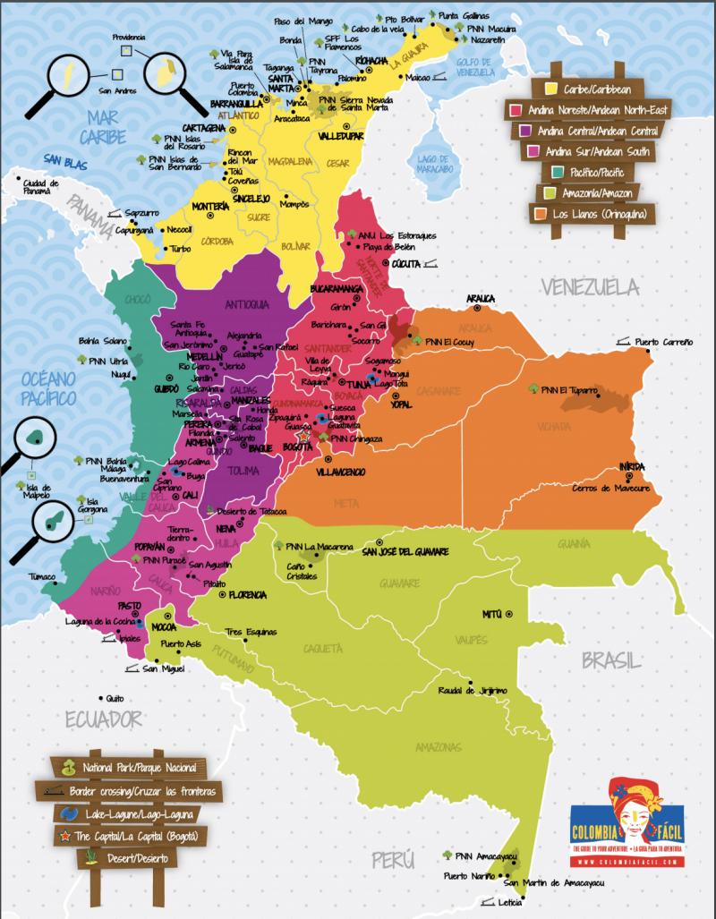 Mapa turísitico de Colombia bastante completo de Colombia Fácil