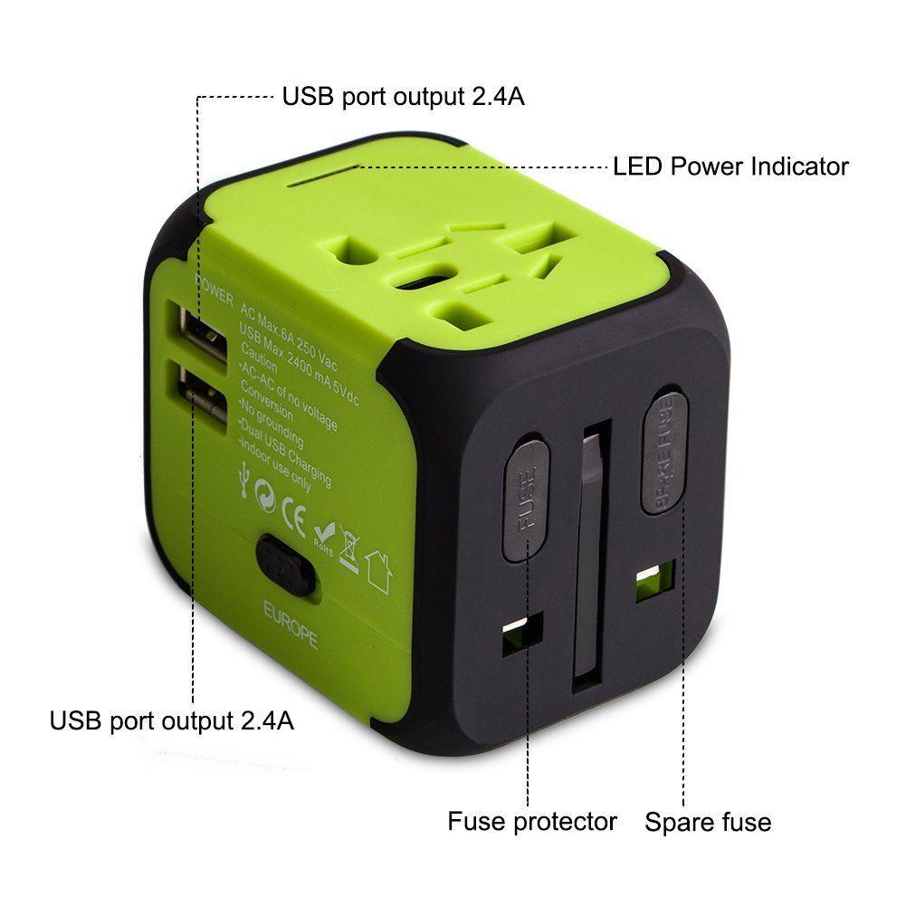 Adaptador de enchufe universal que además viene con 2 puertos USB