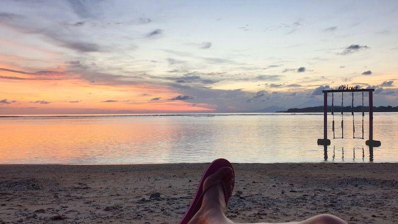El atardecer en la playa de nuestro hotel Pink Coco