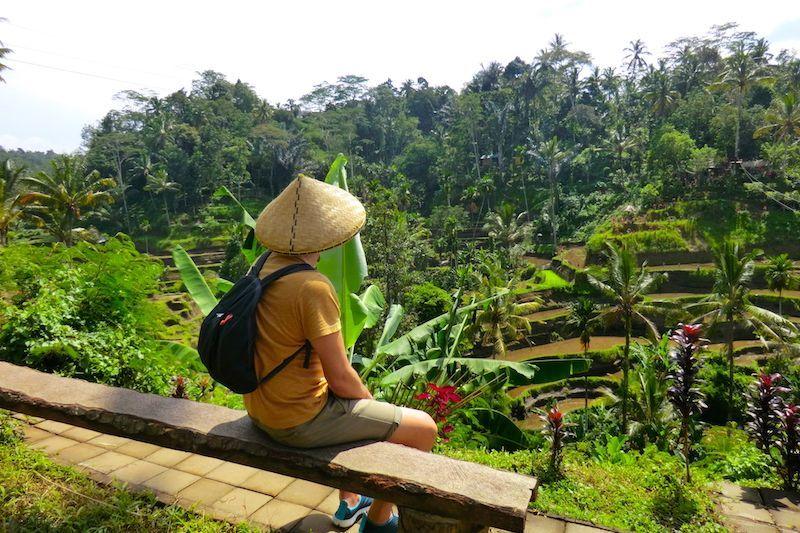Carlos contemplando los distintos tonos de verde en Tegalalang