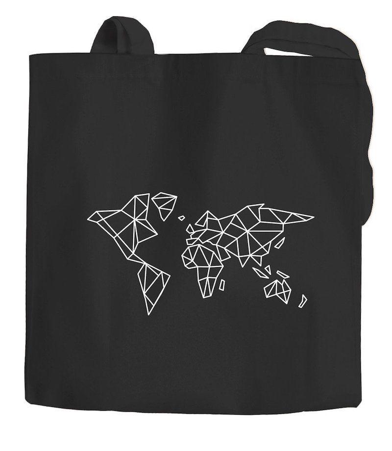 Bolsa 100% de algodón ecológico con el mapa mundi estilizado para ir a la playa, a la hacer la compra, para el día a día y para los viajes.