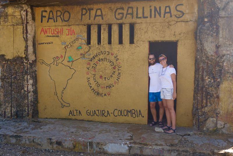 En el Faro de unta Gallinas: el punto más al norte de Sudamércica. Alta Guajira