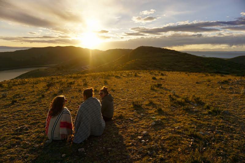 Atardecer en la isla del Sol, Lago Titicaca, Bolivia