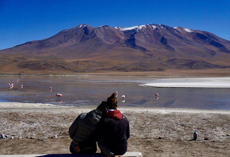 Contemplando la bella Laguna Hedionda Sur, en Bolivia