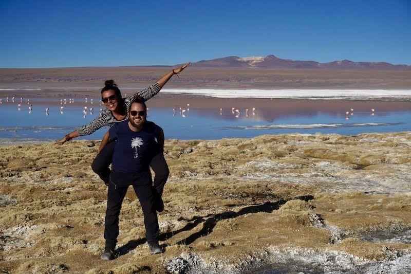 Felices en la laguna colorada, Bolivia