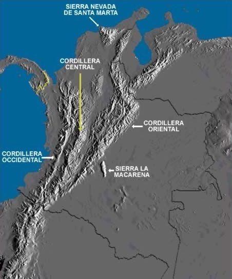 Las tres cordilleras de Colombia: occidental, central y oriental