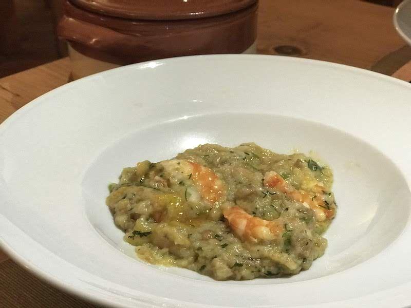 """La """"açorda de camarão"""" (açorda es un plato típicamente alentejano) estaba especialmente rica"""