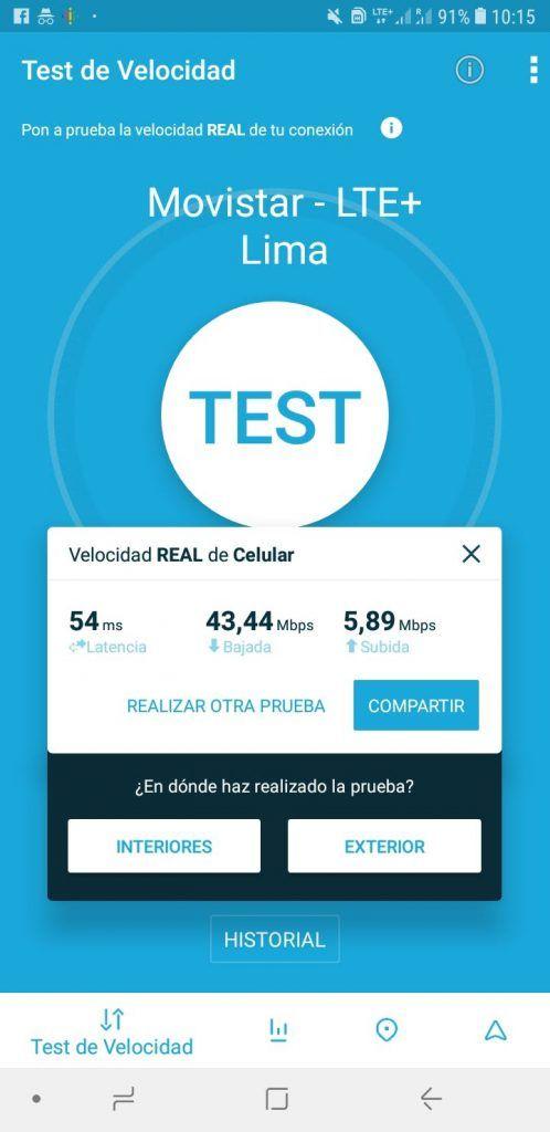Test de velocidad con Movistar en Lima (Perú)