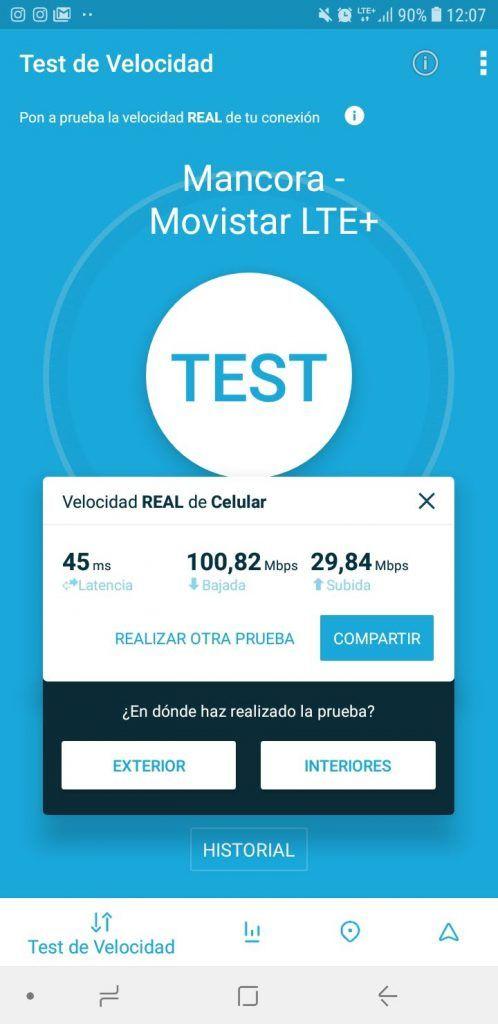 Test de velocidad con Movistar en Máncora (Perú)