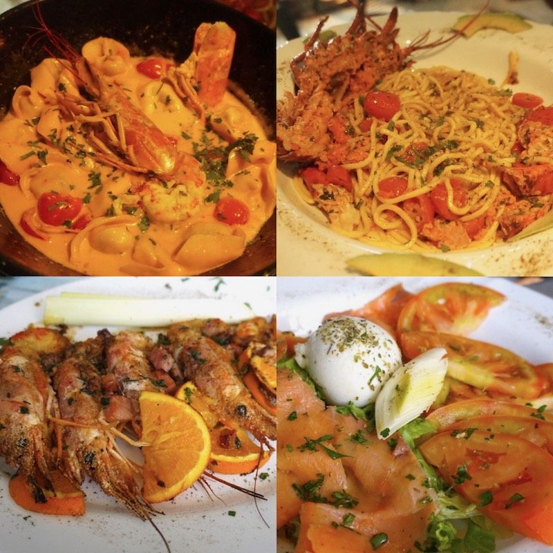 """Varios de los platos que probamos en nuestro restaurante favorito en la isla """"Las Flores del Mar"""": tortellini de espinaca y rúcula con almogrote y gambas, spaghetti fresco con bogavante, langostinos al horno con naranja, ensalada de burrata"""