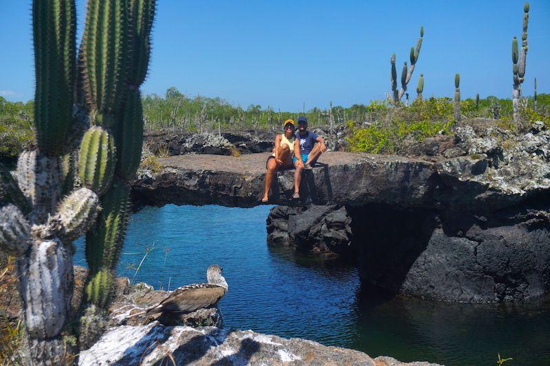 Sentadxs en túneles de lava bajo la atenta mirada de un piquero de patas azules. Tour a los túneles de cabo Rosa, Isabela