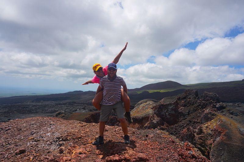 En el volcán Sierra Negra, uno de los cinco volcanes activos en Isabela