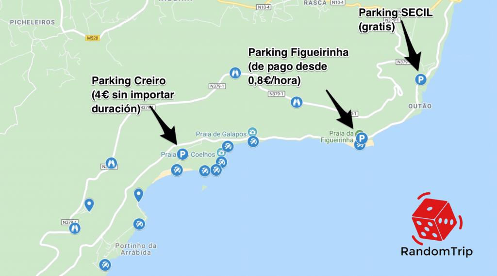 Mapa con parkings en Arrábida en verano