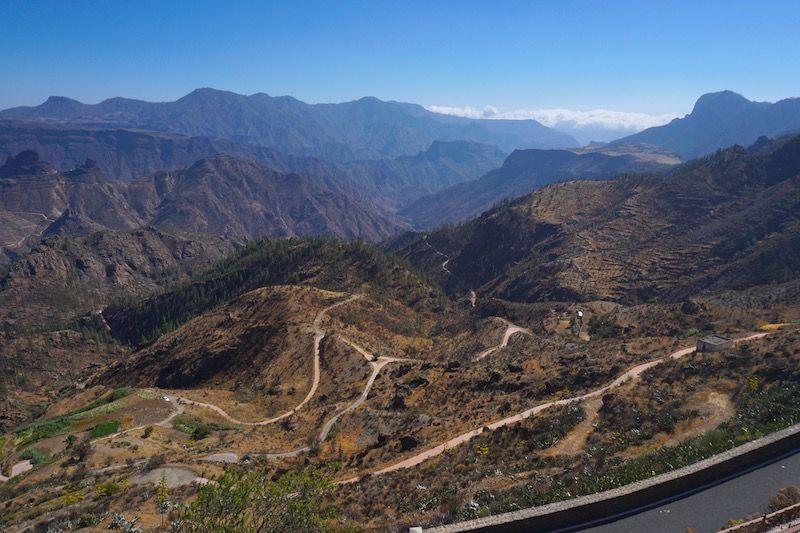 Vistas de la carretera hacia Artenara