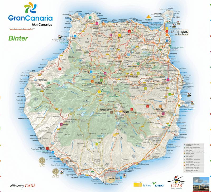 Mapa turístico de Gran Canaria