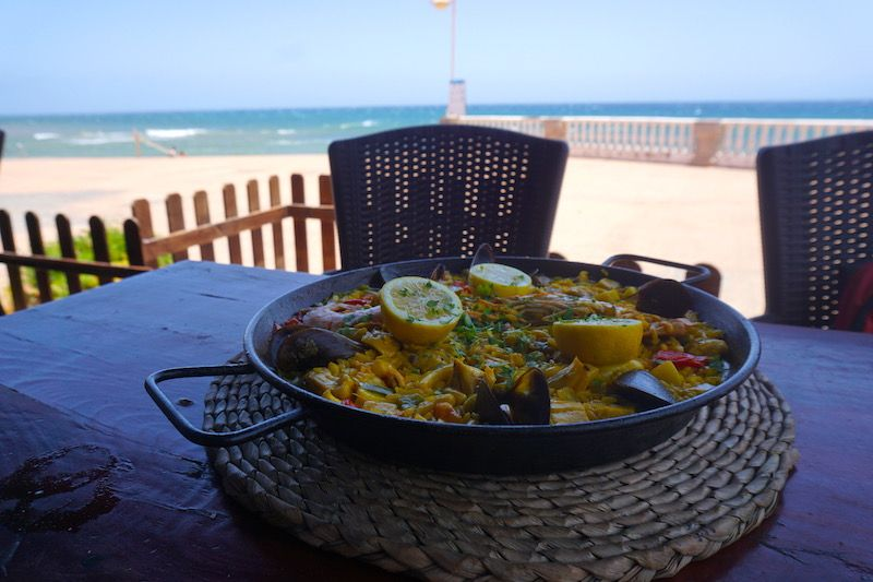 Arroz de marisco y vistas al mar