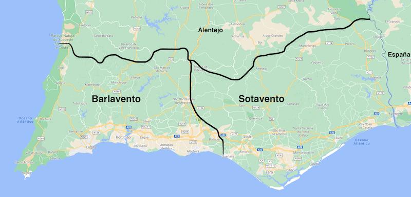 Mapa barlavento y sotavento algarvío