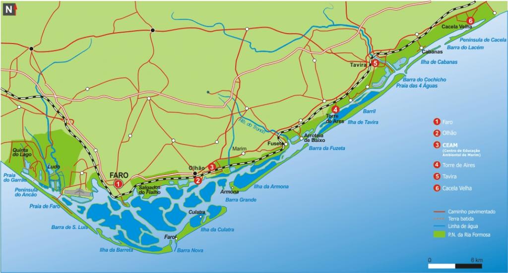 Mapa de la Ría Formosa (Algarve)